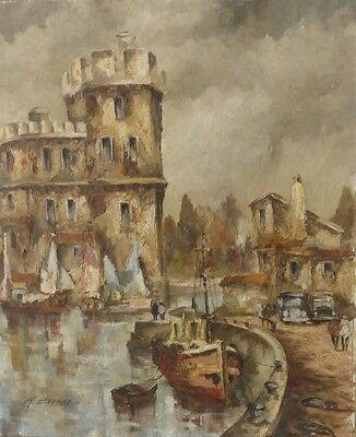 Listed French Artist Andre Besse Oil On Canvas Port De La Rochelle, France