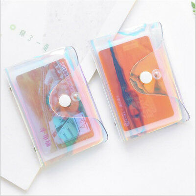 Women Fashion Rainbow Hologram Transparent Credit Card Storage Wallet KV