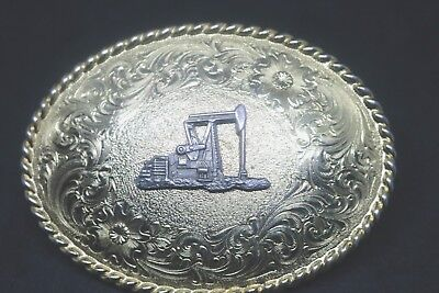 Vintage Justin Gold Belt Buckle with Silver Oil Well Pump!! Excellent Condition