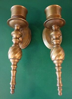 2 Nice Vintage Solid Brass Wall Hanging Mount Sconces Single Candle Stick Holder