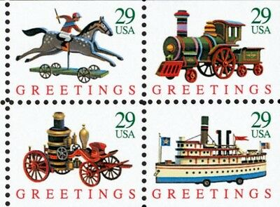 1992 29c Christmas Toys, Booklet Block of 4 Scott 2715-18 Mint F/VF NH