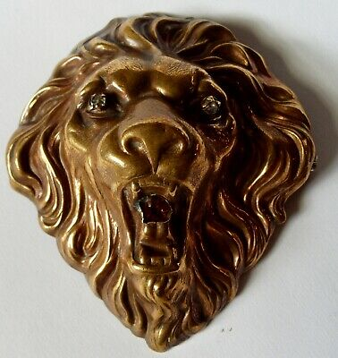 Large Old Vintage Die Stamped Brass Lion Lapel Pin With Rhinestone Eyes And Mout