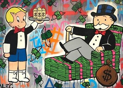 "Alec Monopoly Richie Rich Handmade Oil Painting on Canvas art Decor 24X32"" #7"