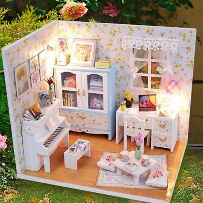 DIY Handcraft Wooden Dollhouse Miniature Furniture Kit Toy Doll House Gifts