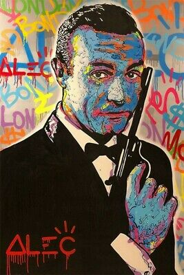 Alec monopoly James Bond Handmade Oil Painting on Canvas art Decor 24x36 inch