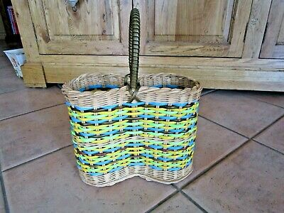 1960's  Retro Woven Plastic & CANE PICNIC BASKET - THERMOS HOLDER - COOL LOOK