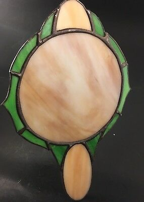 Arts & Crafts Era Slag Stained Glass Hand Wall Mirror Art Nouveau Very Nice