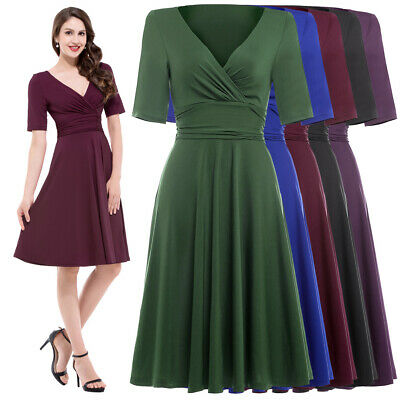Vintage Retro 50s 60s Swing COCKTAIL Solid Evening Party Pinup Dress Fashion Hot