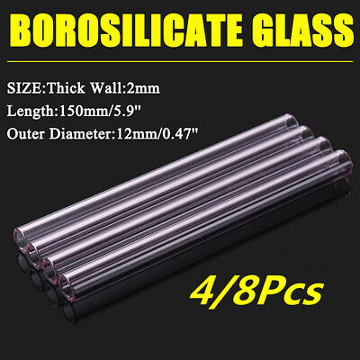 4/8x Glass Tubing Borosilicate Blowing Pyrex Tubes Blow Pink 12mm x 2mm x 150mm