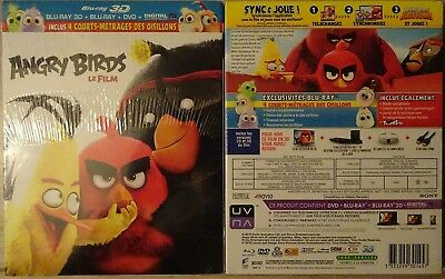 BLU RAY 3D+2D+DVD+copie UV ANGRY BIRDS LE FILM Ed FR + 4 courts-métrages