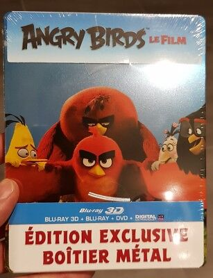 BLU RAY 3D 2D + DVD ANGRY BIRDS édition STEELBOOK neuf le film +courts-métrages