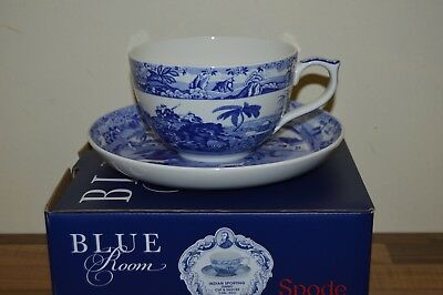 Spode Blue Room Indian Sporting Jumbo Breakfast Cup & Saucer - Boxed