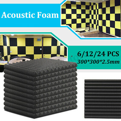 6/12/24x Studio Acoustic Foam Panels Sound Proofing Treatment Wedge Tiles KTV