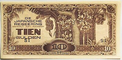 1942 Netherlands Indies - Japanese Invasion Money - 10 Gulden Banknote about Unc