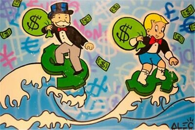 Alec monopoly Richie Rich Handmade Oil Painting on Canvas art Decor 24x36 inch
