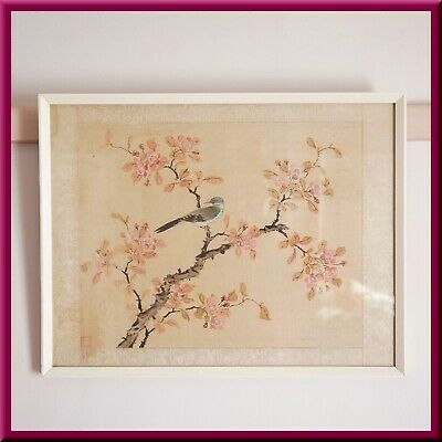 Vintage Asian Japanese Framed Painting on silk / 'A bird on a Plum tree Branch'
