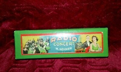 """1940s M Hohner  Radio Concert Harmonica Key of """"C"""" Mint Condition All Holes Work"""