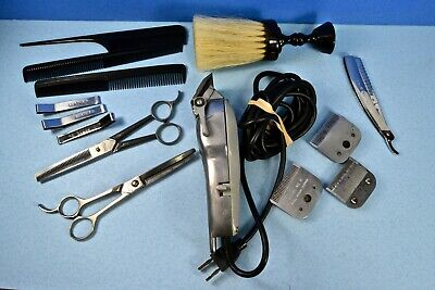 Vintage Barber Tools #2, Clippers, Scissors, Combs, Neck Brush, Thinning Razor +