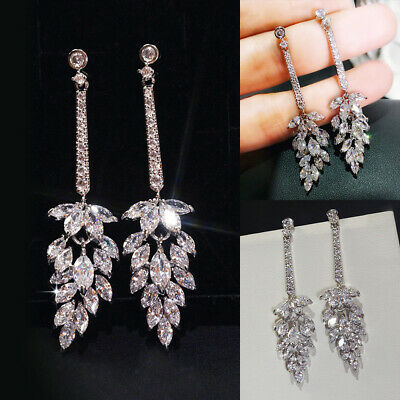 Women 925 Sterling Silver Glittering Earrings Crystal Jewelry Party Drop Earring