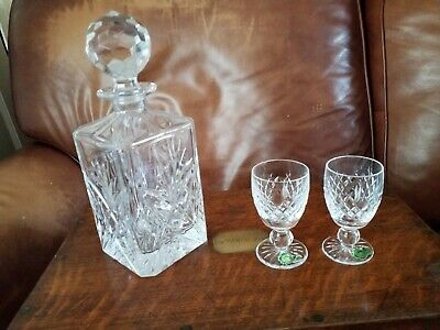 Heavy Lead Crystal Cut Glass Decanter And Two Waterford Crystal Brandy Glasses