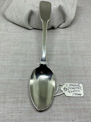A Lovely Solid Silver Fiddle Pattern Pudding Spoon Hayne & Carter HM London 1844