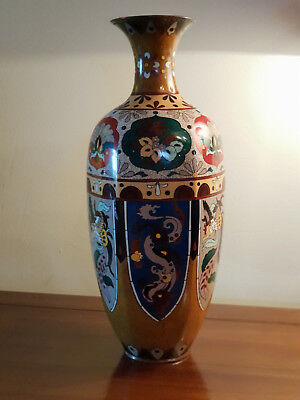 Antique, Japanese, Dragon And Phoenix Cloisonne Vase, Mid-Late Meji, Beautiful!
