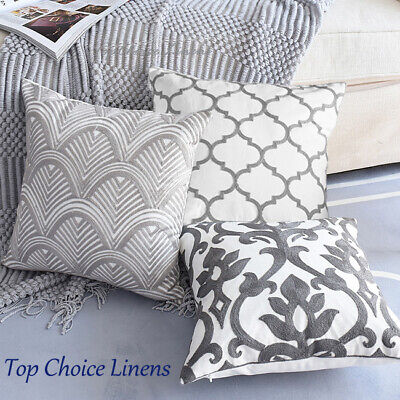 Mix Match Home Sofa Lounge Grey/White Embroideried Cotton Cushion Cover 45S