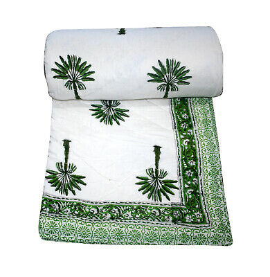 Palm Tree Hand Block Print Quilt Blanket Throw Bedspread Bedding Cotton Quilt