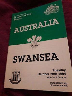 1984-Swansea V Australia-International Tour Match-Rugby Programme