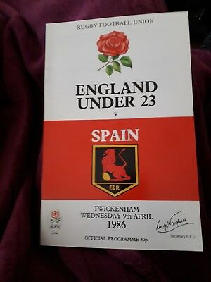1986-England 'Under 23' V Spain-Espana-International Match-Rugby Union Programme