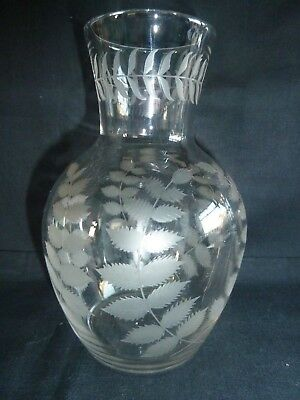 Beautiful Quality Etched Victorian Water Carafe 19th Century Antique