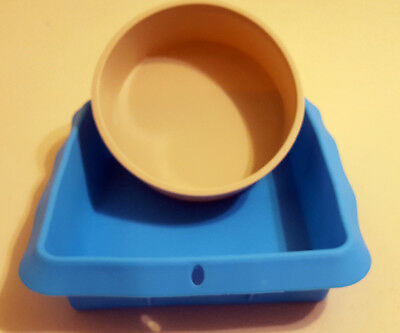 2pcs Silicone Mould Set : square slab + round cake mould for soap or cake making