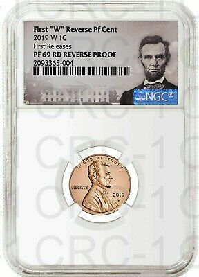 """2019 W First """"W"""" Reverse PF Lincoln Cent F.R. NGC PF69 RD Reverse Proof POR"""