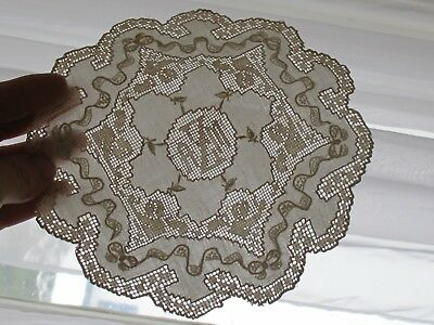 Vintage Hand Crocheted Embroidered Linen Off-White Monogram Doily Cocktail Lot