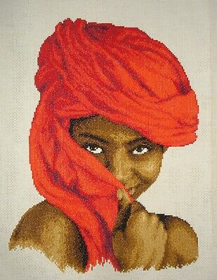 Vervaco Completed Counted Cross Stitch Unframed Picture African Lady In Red