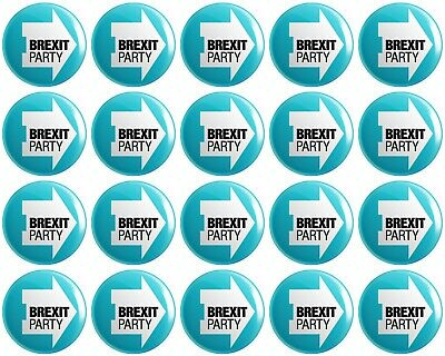 20 x The Brexit Party BUTTON PIN BADGES 25mm 1 INCH UK Politics Nigel Farage