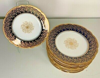 Limoges France Porcelain Cobalt Blue and Gold Encrusted Salad Plate set of 12