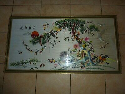 Framed Chinese/japanese 98Cm By 48 Cm Silk Embroidery Picture Of Different Birds