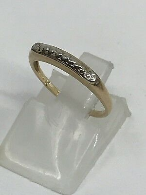 Vintage Solid 14K Yellow & White Gold Antique Band Ring Sz 4.75 Ring Band