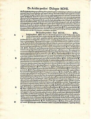 """15thc incunabula Leaf/page """"COLLECTED WORKS OF PETRARCH""""  Basel,Switzerland 1496"""