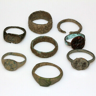 Lot Of 8 Roman Byzantine & Crusaders Bronze Rings - Include Seal Ring
