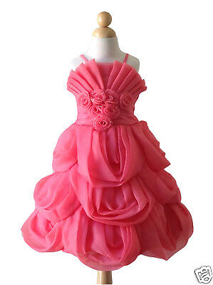dac5ff944 Coral Organza Pleated Spaghetti Strapes Wedding Flower Girl Dress Pageant  Gown