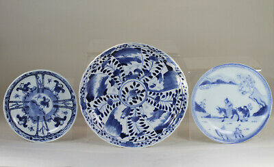 Antique Chinese 18th Century Blue & White Saucer Dishes Dish x3 Kangxi and Later