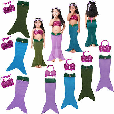 Girl Kids Swimmable Mermaid Tail Bikini Swimsuit Swimming Costume Age 3-10 Years