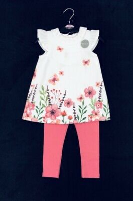 New Girls summer outfit, floral tunic top & leggings set, 4-5 Years.