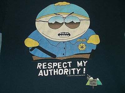 90's SOUTH PARK t-shirt LG cotton Respect My Authority Comedy TV
