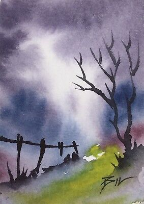 ACEO Original Art Painting by Bill Lupton - Distant Mist