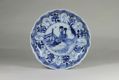 Antique Chinese c1700 Kangxi Period Molded Lobed Saucer Dish Blue White Ladies
