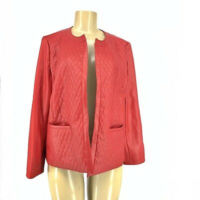 Chico's Women Faux Leather Open Front Jacket Quilted Sz 1 Small Red #8
