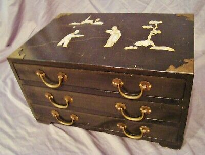 BIG Old MAHOGANY ORIENTAL 3-DRAWER CHEST WITH INLAYS Flatware JEWELRY? Watches?
